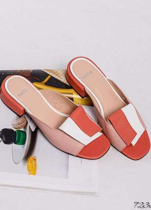 ❤ женские пудровые кожаные мюли шлёпанцы сабо тапочки шлёпки ❤