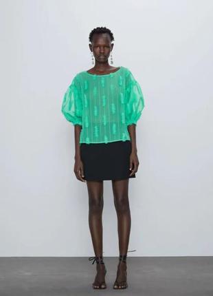 Новая блуза zara зеленого цвета