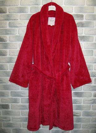 Домашний флисовый халат  /  малиновый цвет