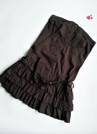 Платье-бандо terranova p.s , сарафан без бретелей, молодежная одежда