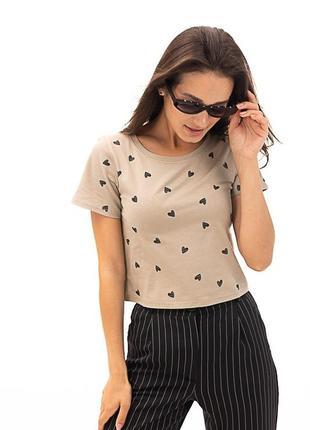 Бежевая футболка , футболка в сердечко , короткая футболка