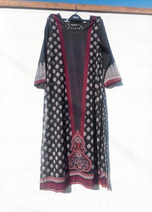 Летняя туника восточный стиль длинная чёрная разноцветная в горошек рисунок принт