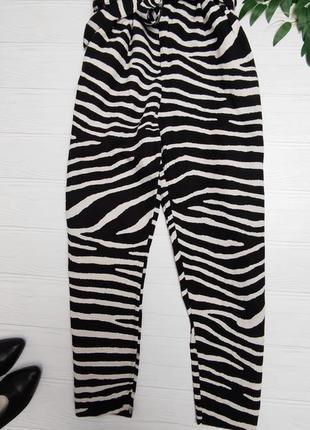 Літні штани зебра з високою посадкою на кулиске льон