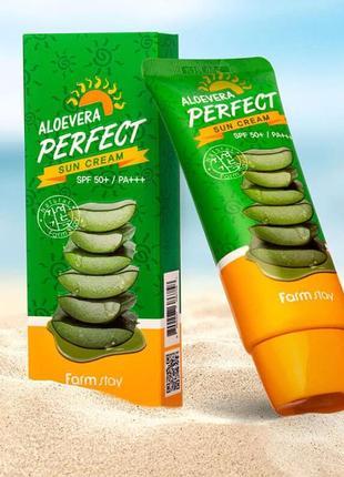 Солнцезащитный крем с алоэ spf50+ farmstay aloevera perfect sun cream spf50+ pa+++, 70 г