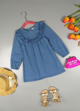 Платье джинсовое с оборками 2-3года