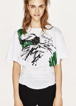 Белая футболка с корсетом zara женская футболка