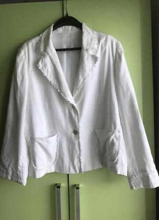 Пиджак белоснежный ,лен