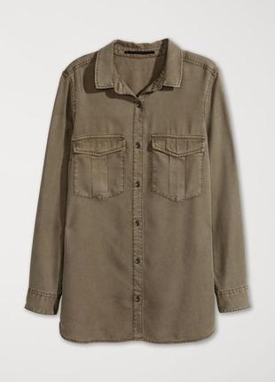 Рубашка хаки h&m / s / лиоцелл