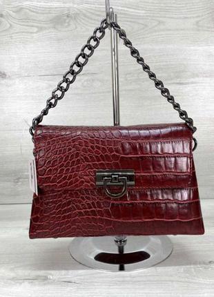 Женская сумочка под кожу змеи сумка клатч с цепочкой aliri-618-02 красная