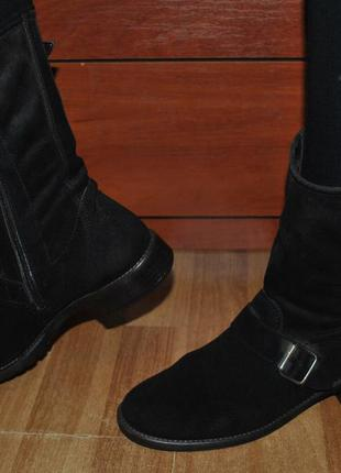 Ботинки деми замша натуральная осень демисезон серые сапоги замшевые ботильоны