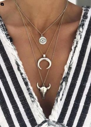 Многослойное колье ожерелье голова быка, луна в стиле бохо