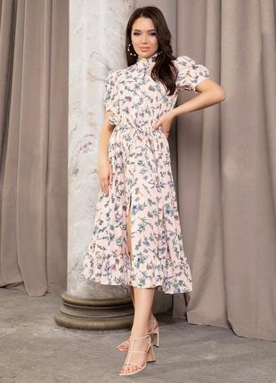 Летнее платье-рубашка в цветочный принт