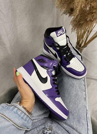 """🌸 женские кроссовки nike air jordan retro 1 high «purple court"""""""