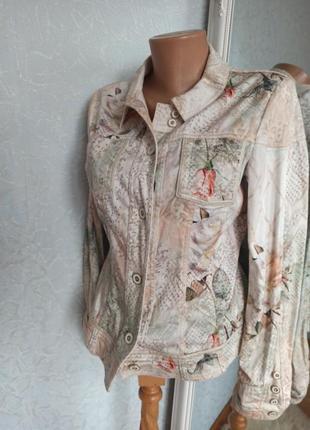 Пиджак куртка джинсовая цветная светлая нарядная шикарная