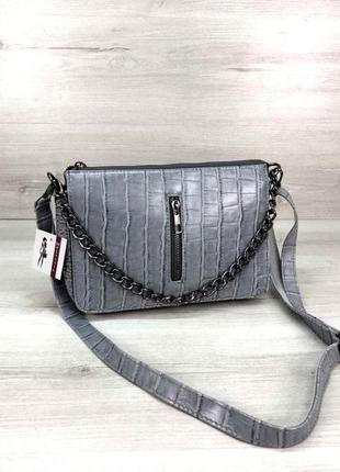 Молодежная сумка-клатч с цепочкой сумочка змеиная кожа aliri-578-08 сероголубого цвета