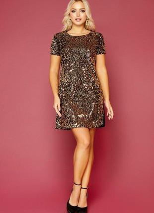Вечернее золотистое платье с пайетками