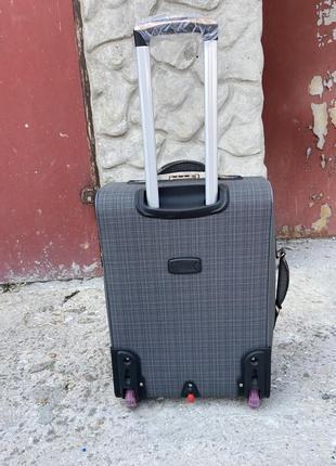 Чемодан тканевый дорожный на колёсах, дорожный чемодан ручная кладь, валіза дорожня на колесах3 фото