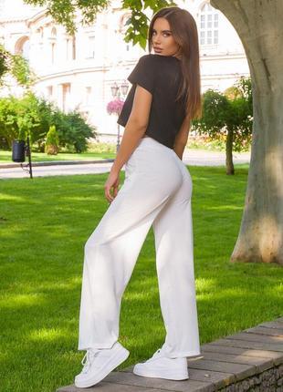Брюки широкие летние, лёгкие широкие белые штаны на лето, легкі широкі брюки білі