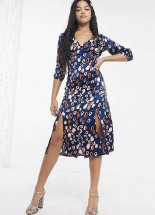 Атласное платье миди с рарезами женское платье платье на пуговицах
