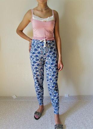 Цветочные брюки для дома и отдыха m&s на манжетах размер 10