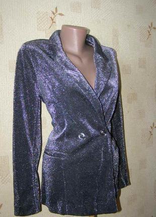 Amisu нарядный пиджак люрекс 36-38 размер