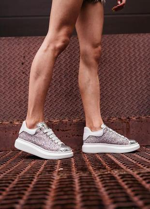 Женские кроссовки alexander mcqueen lace-up glitter-leather
