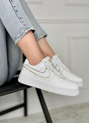 Женские кроссовки nike air force 1 low white/gold