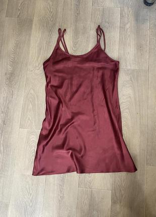 Платье шелковое атласное сатиновое в бельевом стиле
