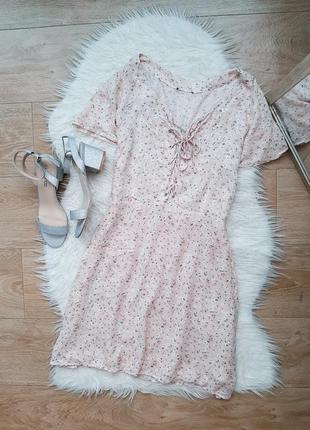 Платье сарафан в цветочки на шнуровке вискоза