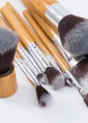 Набор кистей для макияжа 10 шт. бамбук таклон