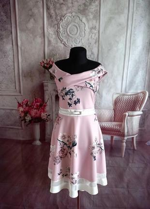 Мега стильное платье миди розовое