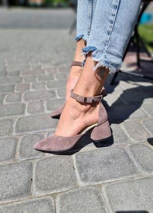 Туфли натуральная замша визон р36-40 лодочки босоножки туфлі босоніжки візон