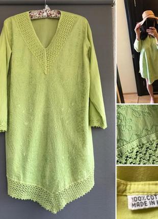 Шикарная лёгкая натуральная туника платье 👘 фисташкового цвета. оверсайз.
