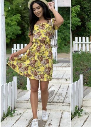 Женское платье, короткое платье, нарядное платье, платье в цветочек