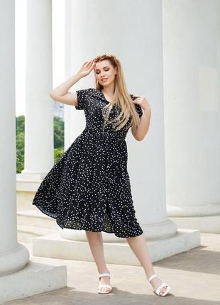 Черное платье в горошек