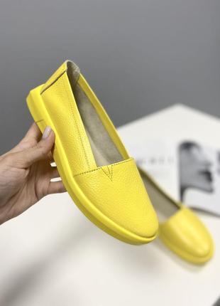 Стильные мокасины кожаные жёлтые,