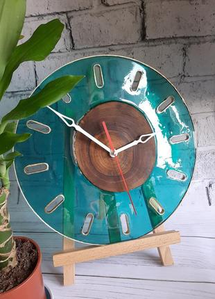 """Минимализм подарок часы бирюза на стену годинник """"время вода"""" эпоксидная смола дерево"""