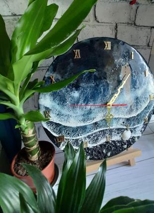 Часы на стену годинник лофт мрамор черное море ночное  подарок картина смола