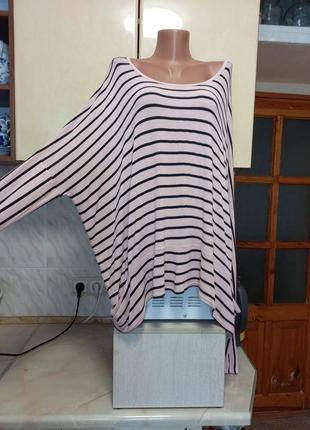 Новая натуральная блуза тонкий джемпер бохо оверсайз батал универсальный размер пог и поб 82+