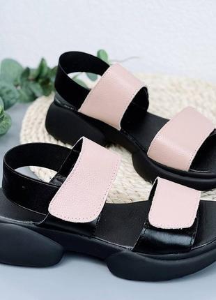 Босоножки женские черные розовые кожаные на толстой подошве платформе из натуральной кожи кожа 6670