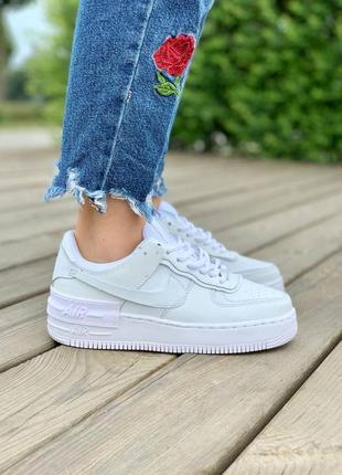 ❤ женские белые кожаные кроссовки nike air force shadow full white   ❤