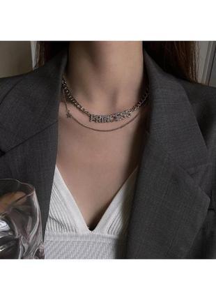 🔗чокер с камнями цепь на шею  массивная цепь на шею многослойный чокер на шею чекер с камнями подвеска на шею
