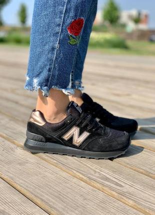 ❤ женские черные замшевые кроссовки  new balance 574 black gold ❤
