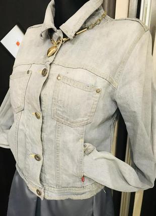Джинсовую кроп легкая рубашечный стиль с потертостями