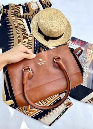 Шикарная кожаная вместительная сумка английского бренда modalu