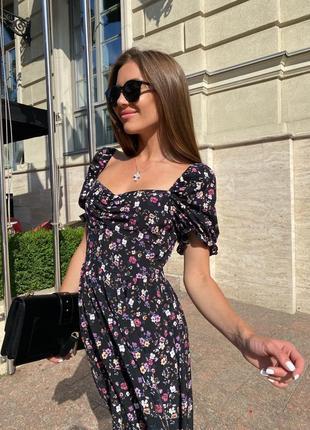 Платье летнее миди женское нарядное длинное белое черное цветочное