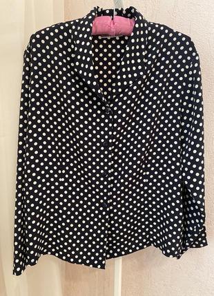 Блуза в горошек горох оверсайз пижамного кроя рубашка zara mango h&m
