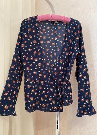 Блуза на запах в цветочный принт в цветочек zara mango asos