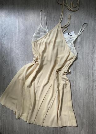 Сукня в білизняному стилі zara. платье в бельевом стиле zara