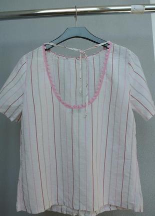 Льняная стильная футболка блуза